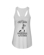 Never Underestimate Old Man Baseball November Ladies Flowy Tank thumbnail