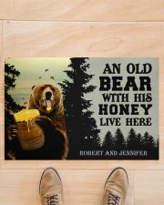 """An Old Bear With His Honey Live Here Personalized Doormat 22.5"""" x 15""""  aos-doormat-22-5x15-lifestyle-front-02"""