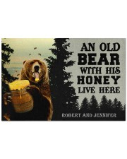 """An Old Bear With His Honey Live Here Personalized Doormat 22.5"""" x 15""""  front"""