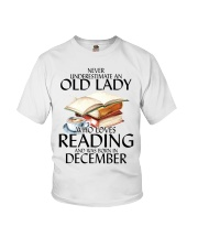 Never Underestimate Old Lady Reading December Youth T-Shirt thumbnail