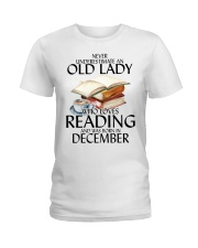 Never Underestimate Old Lady Reading December Ladies T-Shirt thumbnail