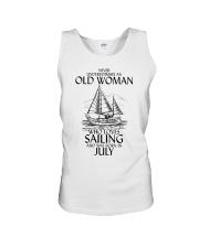 Never Underestimate Old Woman Sailing July Unisex Tank thumbnail