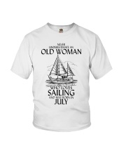 Never Underestimate Old Woman Sailing July Youth T-Shirt thumbnail