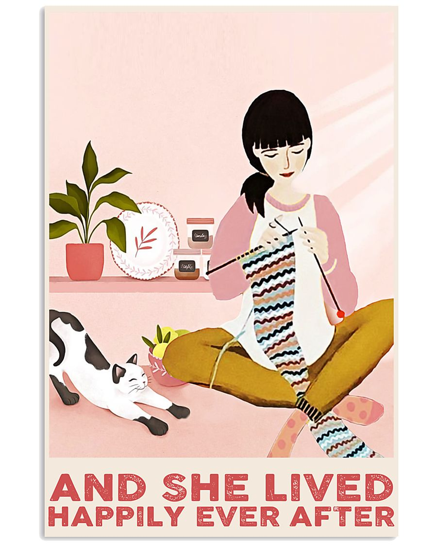 Knitting And She Lived Happily Ever After 24x36 Poster