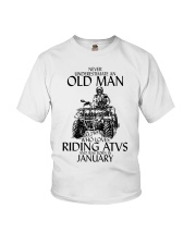 Never Underestimate Old Man ATVs January Youth T-Shirt thumbnail
