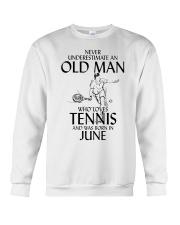 Never Underestimate Old Man Loves Tennis June Crewneck Sweatshirt thumbnail