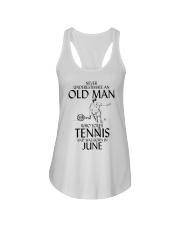 Never Underestimate Old Man Loves Tennis June Ladies Flowy Tank thumbnail