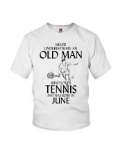 Never Underestimate Old Man Loves Tennis June Youth T-Shirt thumbnail
