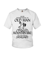 Never Underestimate Old Man Mountain Bike January Youth T-Shirt thumbnail