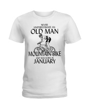 Never Underestimate Old Man Mountain Bike January Ladies T-Shirt thumbnail