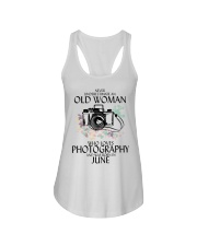 Never Underestimate Old Woman Photography June Ladies Flowy Tank thumbnail