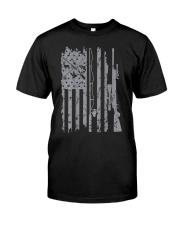 Cool fishing rod hunting rifle american flag  Classic T-Shirt front