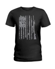 Cool fishing rod hunting rifle american flag  Ladies T-Shirt thumbnail