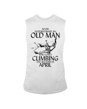 Never Underestimate Old Man Climbing  April Sleeveless Tee thumbnail