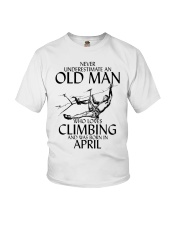 Never Underestimate Old Man Climbing  April Youth T-Shirt thumbnail