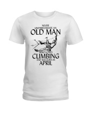 Never Underestimate Old Man Climbing  April Ladies T-Shirt thumbnail