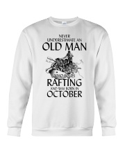 Old Man Loves Rafting October Crewneck Sweatshirt thumbnail