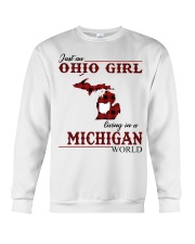 Just An Ohio Girl In Michigan World Crewneck Sweatshirt thumbnail