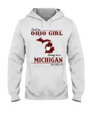 Just An Ohio Girl In Michigan World Hooded Sweatshirt thumbnail