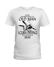 Never Underestimate Old Man Scuba Diving May Ladies T-Shirt thumbnail