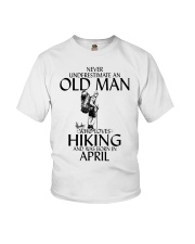 Never Underestimate Old Man Hiking April Youth T-Shirt thumbnail