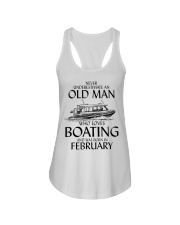Never Underestimate Old Man Boating February Ladies Flowy Tank thumbnail