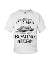 Never Underestimate Old Man Boating February Youth T-Shirt thumbnail
