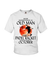 Never Underestimate Old Man Padel Racket October Youth T-Shirt thumbnail