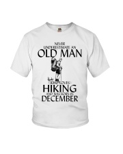 Never Underestimate Old Man Hiking December Youth T-Shirt thumbnail