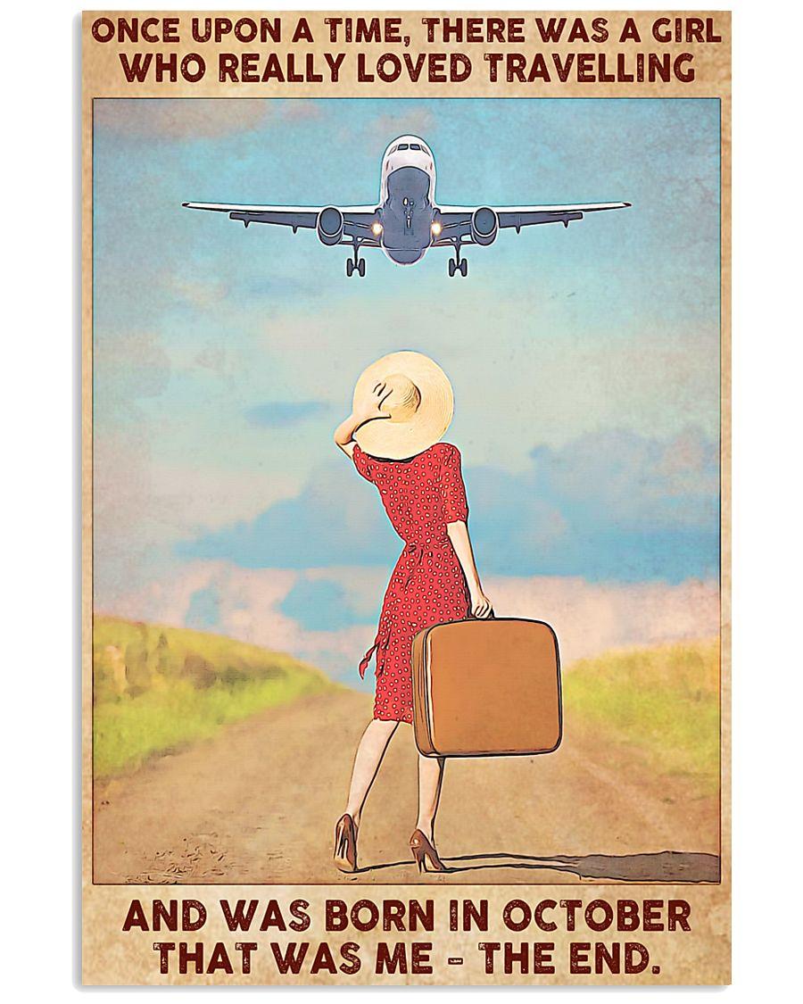 Girl Loves Travelling Born In October 24x36 Poster