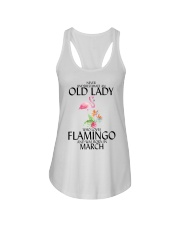Never Underestimate Old Lady Flamingo March Ladies Flowy Tank thumbnail