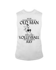 Never Underestimate Old Man Volleyball July Sleeveless Tee thumbnail