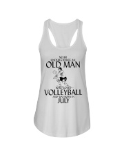 Never Underestimate Old Man Volleyball July Ladies Flowy Tank thumbnail