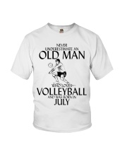 Never Underestimate Old Man Volleyball July Youth T-Shirt thumbnail