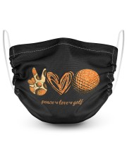 Peace love golf 2 Layer Face Mask - Single front