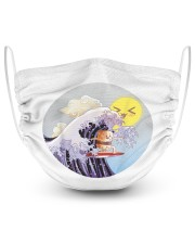 Sushi surfing kawaii waves gift for surfer shirt 2 Layer Face Mask - Single front