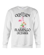 Never Underestimate Old Lady Flamingo December Crewneck Sweatshirt thumbnail