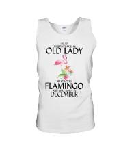 Never Underestimate Old Lady Flamingo December Unisex Tank thumbnail