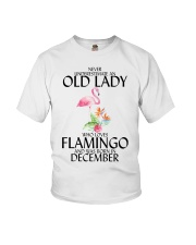 Never Underestimate Old Lady Flamingo December Youth T-Shirt thumbnail