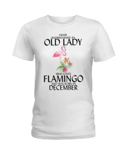 Never Underestimate Old Lady Flamingo December Ladies T-Shirt thumbnail