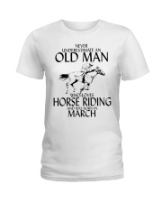 Never Underestimate Old Man Horse Riding March Ladies T-Shirt thumbnail