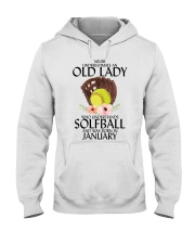 Never Underestimate Old Lady Softball January Hooded Sweatshirt thumbnail