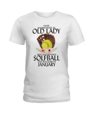 Never Underestimate Old Lady Softball January Ladies T-Shirt thumbnail