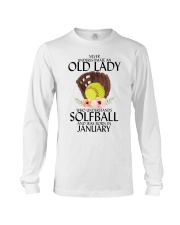 Never Underestimate Old Lady Softball January Long Sleeve Tee tile