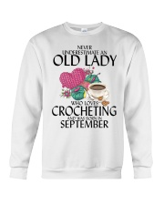 Never Underestimate Old Lady Crocheting September Crewneck Sweatshirt thumbnail