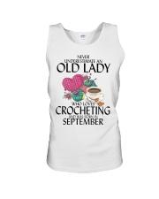Never Underestimate Old Lady Crocheting September Unisex Tank thumbnail
