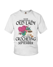Never Underestimate Old Lady Crocheting September Youth T-Shirt thumbnail