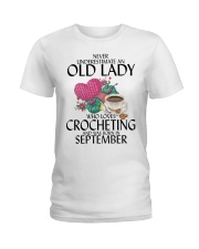 Never Underestimate Old Lady Crocheting September Ladies T-Shirt thumbnail