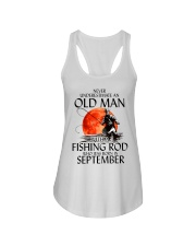 Never Underestimate Old Man Fishing Rod September Ladies Flowy Tank thumbnail