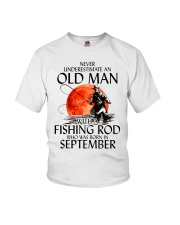 Never Underestimate Old Man Fishing Rod September Youth T-Shirt thumbnail